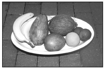 Fruits available in village markets include (left to right) bananas, papaya, mango (front), coconut (back), oranges (front), and limes. EPD Photos
