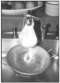 The lab mixture, held in a cheesecloth sack and hung from the faucet, should drain for several hours. EPD Photos