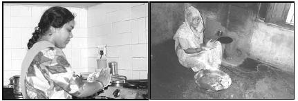 Chapati, or Indian bread, is prepared throughout India. The woman in the picture on the left is working in a typical urban kitchen in the city of Ghaziabad. The woman on the right prepares chapati in a typical village kitchen in northern India. EPD Photos/Himanee Gupta