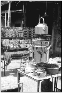Chây (tea), the favorite beverage in Iran, is brewed in a large, ornate pot called a samovar. Cory Langley
