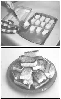 (Top) The baked biscotti are placed on a cookie sheet, ready to be toasted under the broiler. (Bottom) When done, biscotti should have a light, crunchy texture. EPD Photos