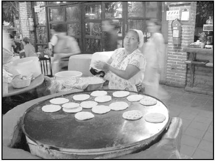 Many Mexicans buy tortillas made fresh daily at the local tortillería (tortilla stand). Corn tortillas are the basis for most typical meals. Flour tortillas are also eaten, especially in northern Mexico, but the corn variety is most popular. Cory Langley