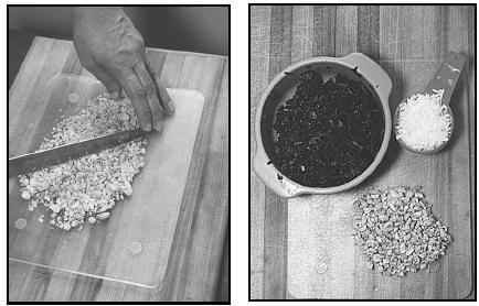 Mchicha combines spinach with the sweetness of coconut and the crunchy texture of chopped peanuts. When chopping peanuts by hand (left), always keep your fingers on the top edge of the knife. EPD Photos