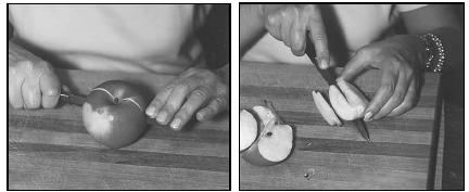 Fried Apples are made from thinly sliced apples. To prepare an apple for slicing, first cut it in half, and then into quarters. Cut away the core and seeds, and then cut each quarter into thin slices. EPD Photos